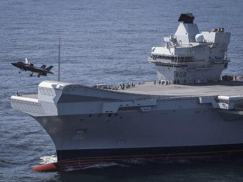 An F-35 takes off from the British Royal Navy aircraft carrier HMS Queen Elizabeth. (Dane Wiedmann/Lockheed Martin)