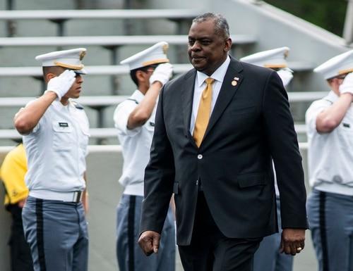 Defense Secretary Lloyd Austin attends the United States Military Academy graduating ceremony on May 22, 2021, in West Point, N.Y. (Eduardo Munoz Alvarez/AP)