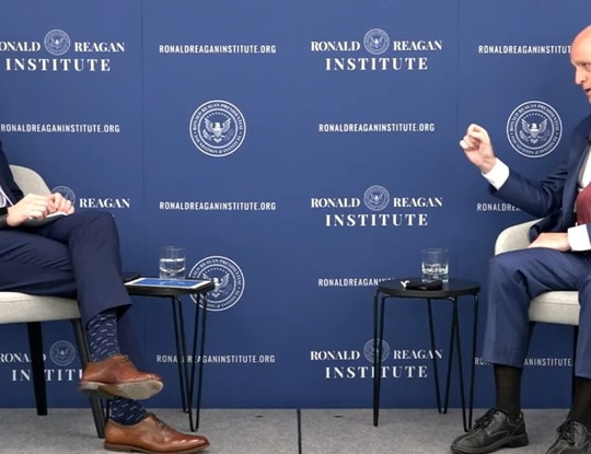 Roger Zakheim, left, Washington director of the Ronald Reagan Institute, speaks with House Armed Services Committee Chairman Adam Smith, D-Wash., during an event in Washington on April 13, 2021. (Courtesy of the Ronald Reagan Institute)