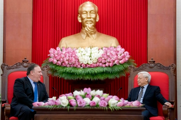 U.S. Secretary of State Mike Pompeo, left, meets with Vietnamese Communist Party General Secretary Nguyen Phu Trong at the Office of the Party Central Committee in Hanoi, Vietnam, Sunday, July 8, 2018. Pompeo is on a trip traveling to North Korea, Japan, Vietnam, Abu Dhabi, and Brussels. (Andrew Harnik/Pool via AP)