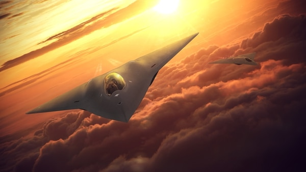 This rendering of a Next Generation Air Dominance aircraft, by Lockheed Martin, shows a tailless stealthy future fighter. (Lockheed Martin)