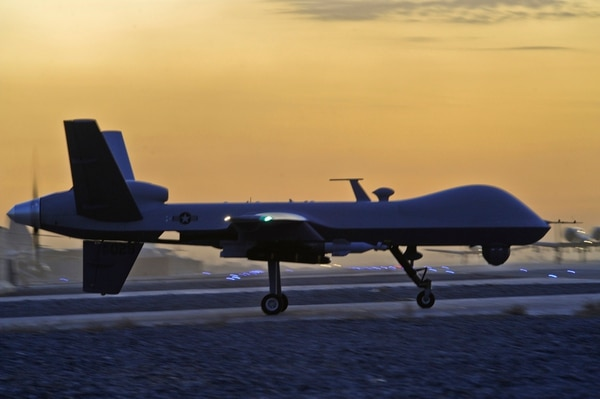 An MQ-9 Reaper taxis at Kandahar Airfield, Afghanistan, Dec. 27, 2009. (U.S. Air Force photo by Tech. Sgt. Efren Lopez/Released)