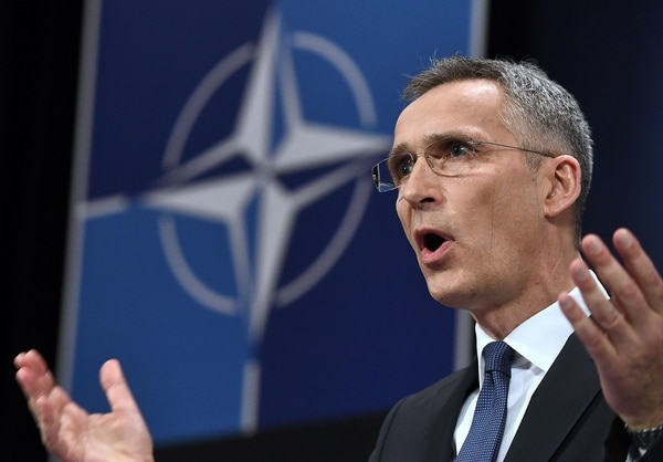 NATO Secretary General Jens Stoltenberg addresses a news conference to give the alliance's annual report at NATO headquarters in Brussels on March 15, 2018. (Emmanuel Dunand/AFP via Getty Images)