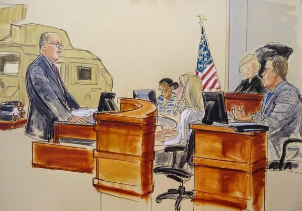 Former Army Capt. Wade Barker, EOD expert, testifies in a federal trial against Iran for their role in attacks against U.S. troops in Iraq. (Elizabeth Williams/courtesy Osen law firm)