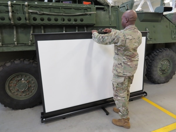 As part of their efforts to improve Expeditionary Mission Command posts, the Army has added new features to field computing to include voice command, sharing screens and symbology features for tablets. (U.S. Army Research Development, Engineering Command)