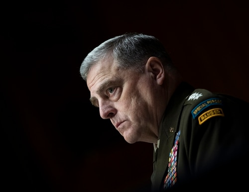 Chairman of the Joint Chiefs Chairman Gen. Mark Milley testifies before a Senate Appropriations Committee hearing to examine proposed budget estimates and justification for fiscal year 2022 for the Department of Defense in Washington on Thursday, June 17, 2021. (Caroline Brehman/Pool via AP)