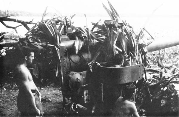 Camouflaged Japanese l40mm naval guns with their ammunition intact were put out of action at Enogai by a landward attack from Marine Raiders. (Marine Corps)