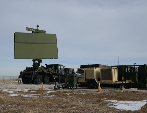 The large antenna of a AN/TPS 75 radar system is in use at the 133rd Test Squadron in Fort Dodge, Iowa on December 19, 2019. (Senior Master Sgt. Vincent De Groot/U.S. Air National Guard)