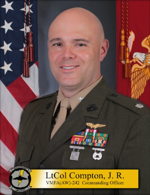 Lt. Col. James R. Compton took command of the VMFA(AW)-242 squadron in mid-2018. A fatal crash involving one of his F/A-18 Hornets that killed five KC-130J crew members and the Hornet pilot happened Dec. 6, 2018. He was relieved of command on April 22, 2019. (Marine Corps)