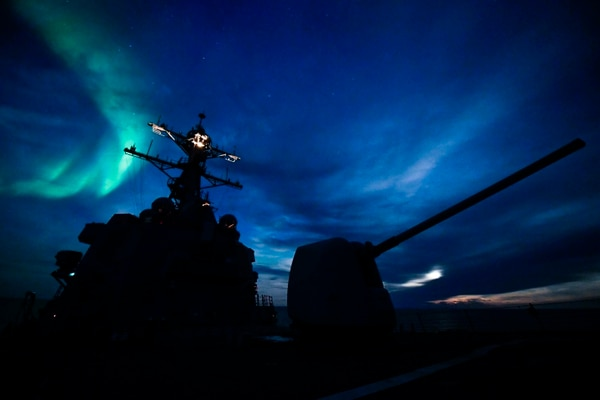The Arleigh Burke-class guided-missile destroyer Oscar Austin transits the Arctic Circle on Sept. 5, 2017. Oscar Austin was on a routine deployment supporting U.S. national security interests in Europe, and increasing theater security cooperation and forward naval presence in the U.S. 6th Fleet area of operations. (MC2 Ryan U. Kledzik/U.S. Navy)
