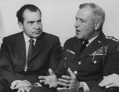 President Richard Nixon (left) and the top commander in Vietnam, Gen. Creighton Abrams Jr., shown here in May 1969 didn't see eye-to-eye on the Vietnam War. (AP Photo)