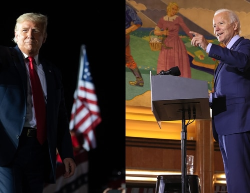 President Donald Trump (left) and former Vice President Joe Biden (right) offered their responses to veterans organizations questions in an recent project with Military Times. (Photo illustration via Getty Images)