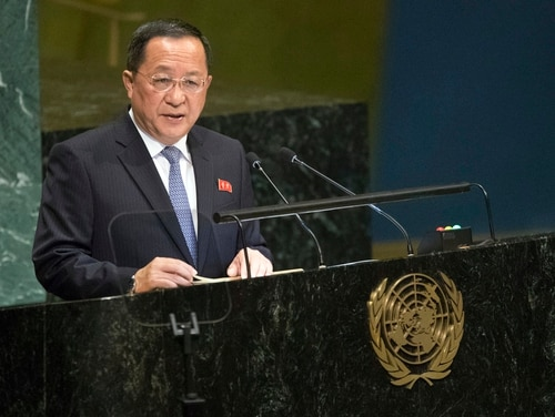 North Korean Foreign Minister Ri Yong Ho addresses the 73rd session of the United Nations General Assembly on Saturday, Sept. 29, 2018 at U.N. headquarters. (Mary Altaffer/AP)