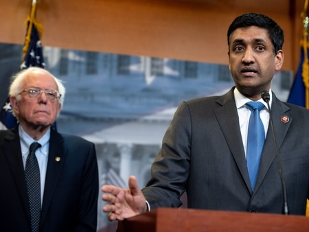 Rep. Ro Khanna, D-Calif., right, and Sen. Bernie Sanders, I-Vt., speak during a news conference following a vote in the U.S. House on ending U.S. military involvement in the war in Yemen on April 4, 2019. (Saul Loeb/AFP)