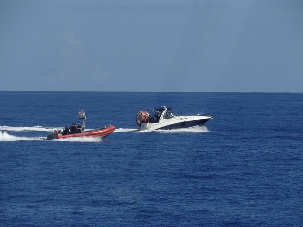On July 30 off Hollywood, Florida, a Coast Guard boat crew from the cutter Paul Clark interdicted the 37-foot pleasure craft Bada Bing, which contained three Brazilian migrants, one Jamaican migrant and two suspected smugglers. All six people were transferred to U.S. Customs and Border Protection. (Coast Guard)