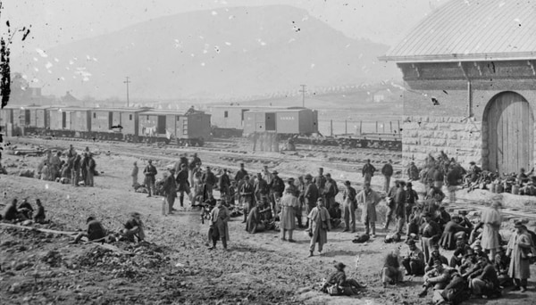 Chattanooga, Tennessee. Confederate prisoners at railroad depot, 1864. (Library of Congress)