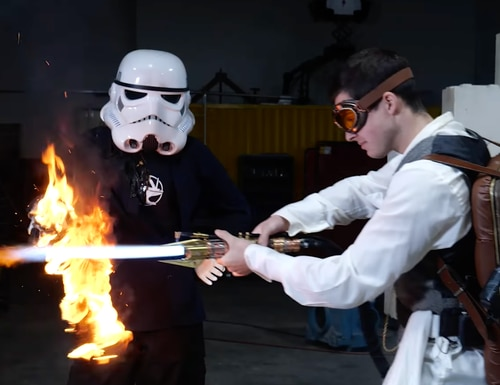 Hacksmith Industries is working on a real lightsaber. (Screenshot via YouTube)