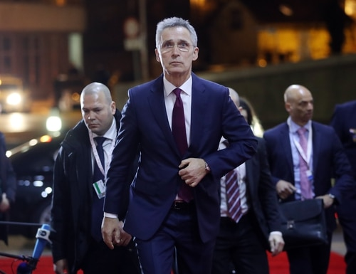 NATO Secretary General Jens Stoltenberg arrives for a meeting of European Union defense ministers in Zagreb, Croatia, on March 4, 2020. (Damir Sencar/AFP via Getty Images)