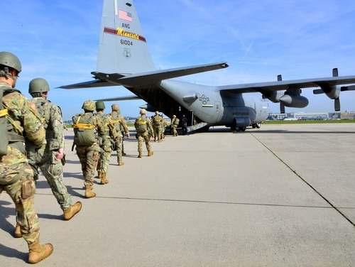 Paratroopers from U.S. Special Operations Commands Africa and Europe board a U.S. Air Force C-130 at Malmsheim Airfield, Germany, on May 23, 2019. (Yvonne Najera/DOD)