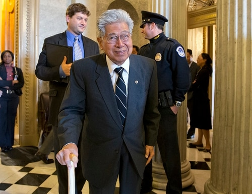 In this Dec. 12, 2012 file photo, Sen. Daniel Akaka, D-Hawaii, the first Native Hawaiian to serve in the Senate, leaves the Senate chamber on Capitol Hill in Washington, after delivering his farewell speech. Akaka, the humble and gracious statesman who served in Washington for more than three and a half decades, died Thursday, April 5, 2018, at the age of 93, sources tell the Star-Advertiser. (J. Scott Applewhite/AP)