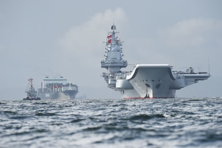 Chinese aircraft carrier Liaoning arrives in Hong Kong waters on July 7, 2017. (Anthony Wallace/AFP via Getty Images)