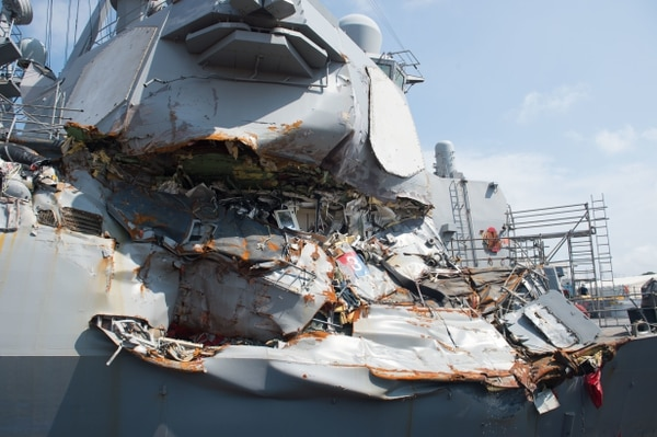 The Arleigh Burke-class guided-missile destroyer Fitzgerald was heavily damaged during a June 17, 2017, collision with a merchant vessel.