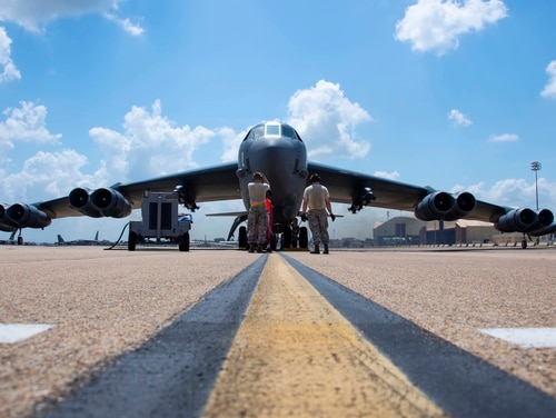 Crew chiefs from the 11th Aircraft Maintenance Unit run final checks on a B-52 Stratofortress prior to takeoff from Barksdale Air Force Base, La., on Aug. 21, 2019. (Master Sgt. Ted Daigle/U.S. Air Force)