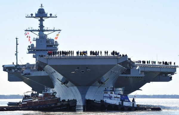 NEWPORT NEWS, Va. (April 8, 2017) Sailors aboard the aircraft carrier Pre-Commissioning Unit (PCU) Gerald R. Ford (CVN 78) man the rails as the ship departs Huntington Ingalls Industries Newport News Shipbuilding for builder's sea trials off the U.S. East Coast. The first-of-class ship—the first new U.S. aircraft carrier design in 40 years—will spend several days conducting builder's sea trials, a comprehensive test of many of the ship's key systems and technologies. (U.S. Navy photo by Chief Mass Communication Specialist Christopher Delano/Released)