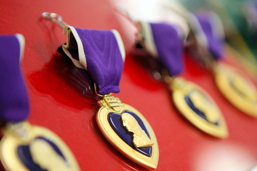 Purple Heart medals are seen at an Aug. 30, 2011, ceremony at Fort Campbell, Ky.