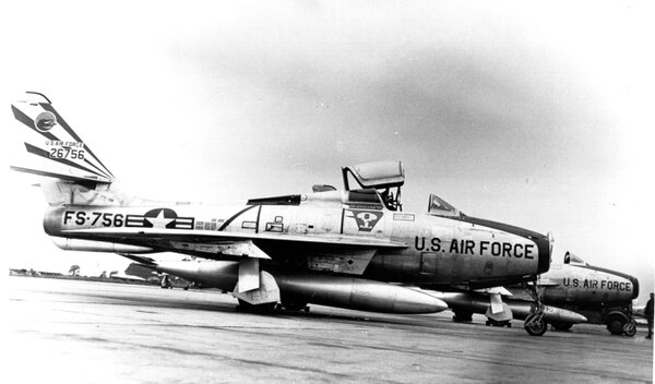 The F-84 was armed with six .50-cal machine guns and eight five-inch rockets or 2,000 pounds of bombs, or napalm tanks, according to the Air Force. (Air Force)