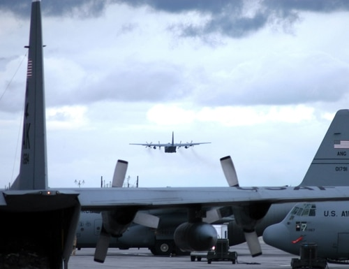 A U.S. Air Force C-130 Hercules cargo aircraft takes off for an Operation Enduring Freedom mission on a cloudy afternoon at Karshi-Khanabad Air Base, Uzbekistan on March 26, 2005, during Enduring Freedom operations.
