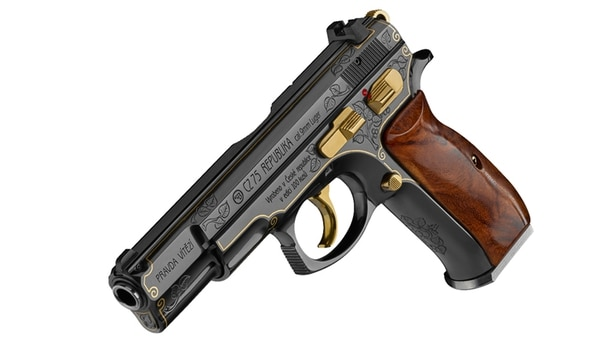 The CZ 75 with its gold-plating and briar root grip prominently displayed (Photo CZUB)