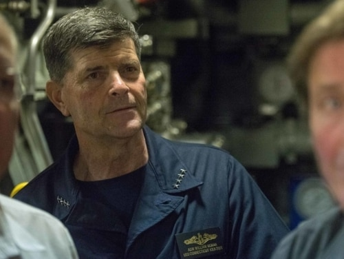 Then-Vice Chief of Naval Operations Adm. Bill Moran inspects the torpedo room of the fast-attack submarine Connecticut during an exercise in the Beaufort Sea on March 18, 2018. (Mass Communication Specialist 1st Class Daniel Hinton/Navy)