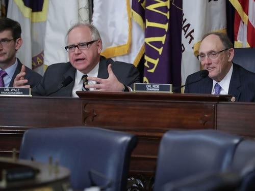 Rep. Tim Walz, D-Minn., (left) and Rep. Phil Roe, R-Tenn., listen to testimony during a House Veterans Affairs Committee hearing in March. (Chip Somodevilla/Getty Images)