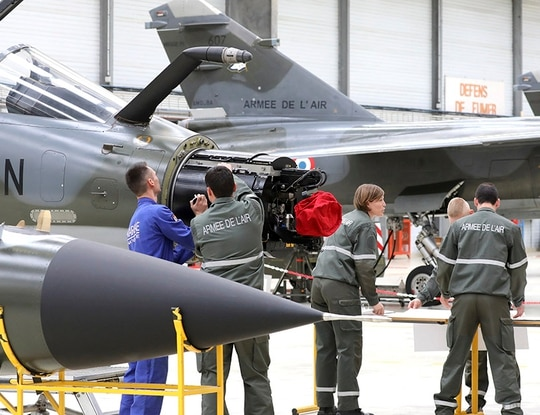 Military students stand by Mirage F1 fighting jets at the mid ranking Air Force officers' school. A two-seater version of the aircraft crashed at Tyndall Air Force Base officials say. (Ludovic Marin/AFP/Getty Images)