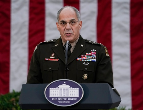 """Army Gen. Gustave Perna, who is in charge of getting COVID-19 vaccines across the United States, apologized on Saturday, Dec. 19, for """"miscommunication"""" with states over the number of doses to be delivered in the early stages of distribution. (AP Photo/Evan Vucci, File)"""