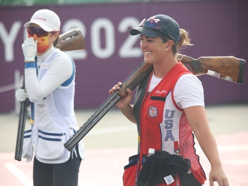 1st Lt. Amber English won a gold medal and set an Olympic record in shotgun skeet shooting Monday, July 26, 2021 at the 2020 Tokyo Olympic Games. (Army/Twitter)