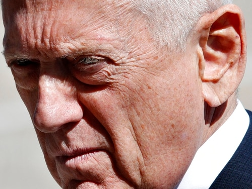 Secretary of Defense Jim Mattis awaits the arrival of Indonesia's Minister of Foreign Affairs Retno Marsudi, Monday, March 26, 2018, at the Pentagon. (Jacquelyn Martin/AP)