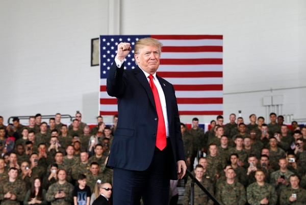 President Donald Trump arrives speaks to service members at Marine Corps Air Station Miramar, Tuesday, March 13, 2018, in San Diego. (Evan Vucci/AP)