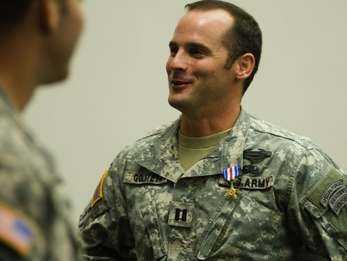 Maj. Matthew Golsteyn is pictured here as a captain during his 2011 Silver Star Medal ceremony at Fort Bragg, North Carolina. (Army)