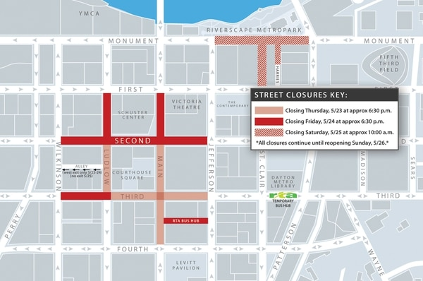 This map posted on the official Dayton, Ohio, website shows plans for closing streets around Courthouse Square to prepare for a Ku Klux Klan rally May 25. Airmen have been ordered to stay away from this area on Saturday afternoon. (Dayton, Ohio, government)