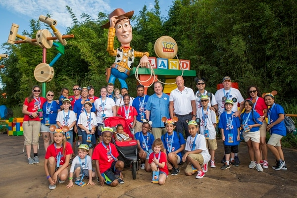 Disney Parks, Experiences and Consumer Products Chairman Bob Chapek and Walt Disney World Resort President George A. Kalogridis welcome U.S. military personnel and their families to a VIP preview of Toy Story Land at Disney's Hollywood Studios in Florida. The 11-acre themed land has its grand opening on Saturday. (Disney)