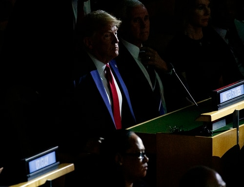 President Donald Trump listens during the United Nations Climate Action Summit during the General Assembly, Monday, Sept. 23, 2019, in New York. (Evan Vucci/AP)