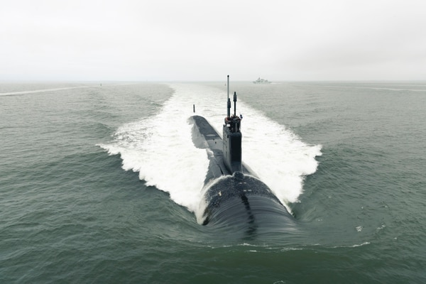 The Virginia-class attack submarine Indiana departs Newport News Shipbuilding to conduct Alpha sea trials in 2018. The submarine industrial base is facing enormous pressure as the Navy's demand ramps up. (U.S. Navy photo courtesy of General Dynamics Electric Boat)