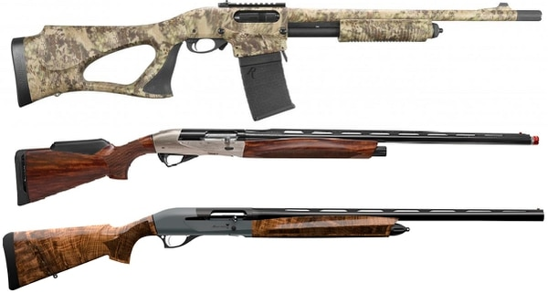 From top, the Remington Model 870 DM Predator, Benelli Ethos Sport and Retay Arms Masai Mara.