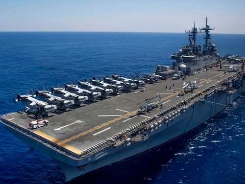 A sailor assigned to the amphibious assault ship Wasp died Friday after falling ill from COVID-19. (Navy)
