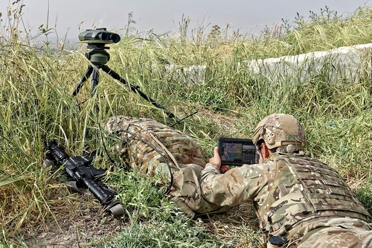 A soldier uses Elbit Systems' Dismounted Joint Fires Integration (D-JFI) program, which will provide close air support and other capabilities to infantry and other ground forces. (Elbit Systems)