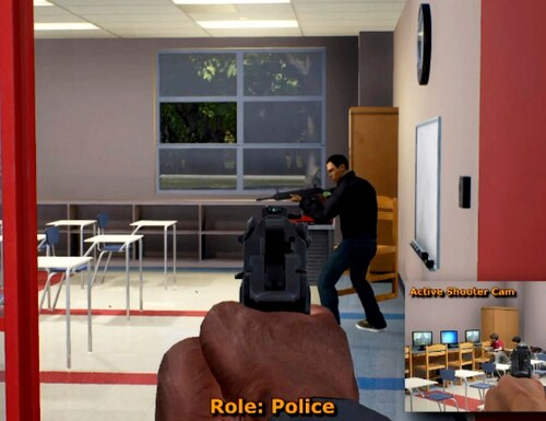 This frame from a video shows video game play footage of a mass shooting simulation. The game designers listened to real dispatch tapes to understand the dynamics of such situations, as part of a $5.6 million government-funded program known as the Enhanced Dynamic Geo-Social Environment. (Cole Engineering services, Inc., via Associated Press)