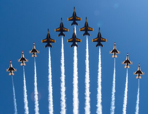 "The U.S. Air Force air demonstration squadron, Thunderbirds, and the U.S. Navy flight demonstration squadron, the Blue Angels, debut a F-16 Fighting Falcon and F/A-18 Super Hornet flight formation known as the ""Super Delta"" during a joint training evolution over Naval Air Facility (NAF) El Centro, Calif., on March 2, 2021. (MC2 Cody Hendrix/Navy)"