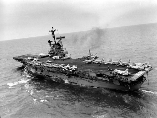 The U.S. aircraft carrier Bon Homme Richard sails into the Gulf of Tonkin in March 1968. A bill passed by the House Monday would extend disability benefits to U.S. troops who served in the seas around Vietnam and may have been exposed to Agent Orange contamination. (AP photo)